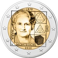 Фото памятная монета 2 евро 2020 года - 150 лет со дня рождения Марии Монтессори, Италия