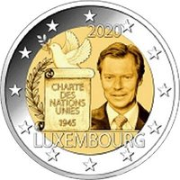 Фото памятная монета 2 евро 2020 года - 75-летие подписания Люксембургом Устава ООН, Люксембург