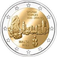 Фото памятная монета 2 евро 2020 года - Храмовый комплекс Скорба, Мальта