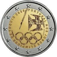 Фото памятная монета 2 евро 2020 года - Летние Олимпийские игры 2020 года, Португалия