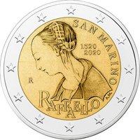 Фото памятная монета 2 евро 2020 года - 500 лет со дня смерти Рафаэля Санти, Сан-Марино