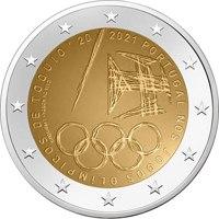 Фото памятная монета 2 евро 2021 года - Летние Олимпийские игры 2021 года, Португалия