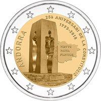 Фото памятная монета 2 евро Андорры 2018 года — 25 лет Конституции Андорры