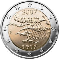 Фото памятная монета 2 евро Финляндии 2007 года — 90 лет независимости Финляндии