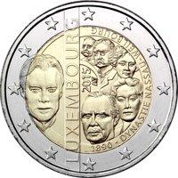 Фото памятная монета 2 евро Люксембурга 2015 года — 125-летие династии Нассау-Вайльбург