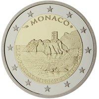 Фото памятная монета 2 евро Монако 2015 года — 800 лет с постройки первого замка на скале
