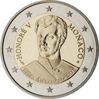 Фото памятная монета 2 евро Монако 2019 года — 200-летие вступления на престол князя Оноре V