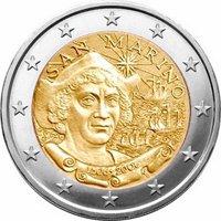 Фото памятная монета 2 евро Сан-Марино 2006 года — 500 лет со дня смерти Х. Колумба