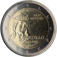 Фото памятная монета 2 евро Сан-Марино 2016 года — 550 лет со дня смерти Донателло