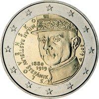Фото памятная монета 2 евро Словакии 2019 года — 100 лет со дня смерти Милана Растислава Штефаника