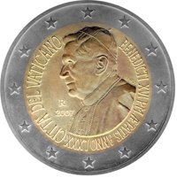 Фото памятная монета 2 евро Ватикана 2007 года - 80 лет Папе Римскому Бенедикту XVI