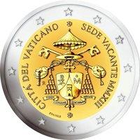 Фото памятная монета 2 евро Ватикана 2013 года - Sede Vacante