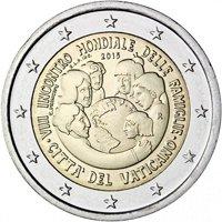 Фото памятная монета 2 евро Ватикана 2015 года - VIII всемирная встреча семей