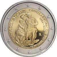 Фото памятная монета 2 евро Ватикана 2019 года - 25 лет с момента реставрации Сикстинской капеллы
