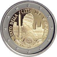 Фото памятная монета 2 евро Ватикана 2019 года - 90 лет со дня основания города-государства Ватикан