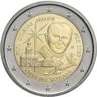 Фото памятная монета 2 евро Ватикана 2020 года - 100 лет со дня рождения Иоанна Павла II