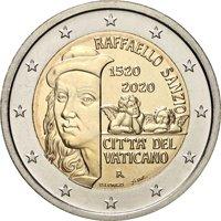 Фото памятная монета 2 евро Ватикана 2020 года - 500 лет со дня смерти Рафаэля Санти