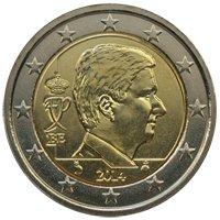 Фото монета 2 евро Бельгии образца 2014 года