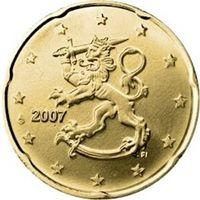 Фото монета 20 евроцентов Финляндии образца 2007 года