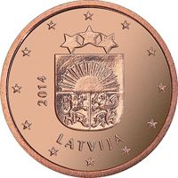 Фото монета 5 евроцентов Латвии