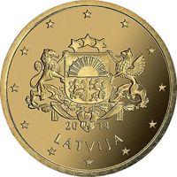 Фото монета 50 евроцентов Латвии