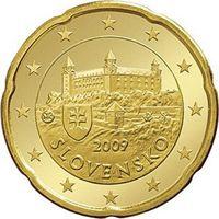Фото монета 20 евроцентов Словакии