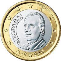 Фото монета 1 евро Испании образца 1999 года