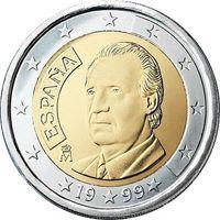 Фото монета 2 евро Испании образца 1999 года