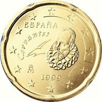 Фото монета 20 евроцентов Испании образца 1999 года