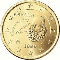 Фото монета 50 евроцентов Испании образца 1999 года